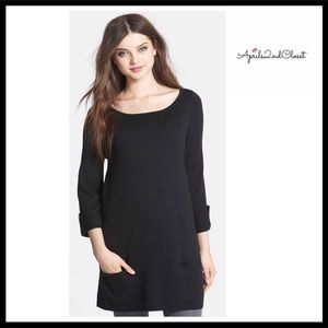 BLACK PULLOVER COZY LONG SLEEVES KNIT TUNIC TOP